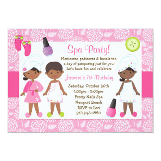 Kids Spa Birthday Party African American Custom Announcement