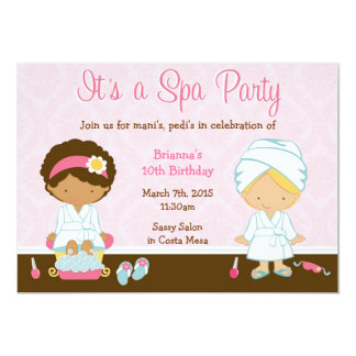Kids Spa Party 5x7 Paper Invitation Card
