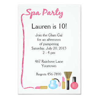 Kids Spa Party Invitations with Lipstick Border
