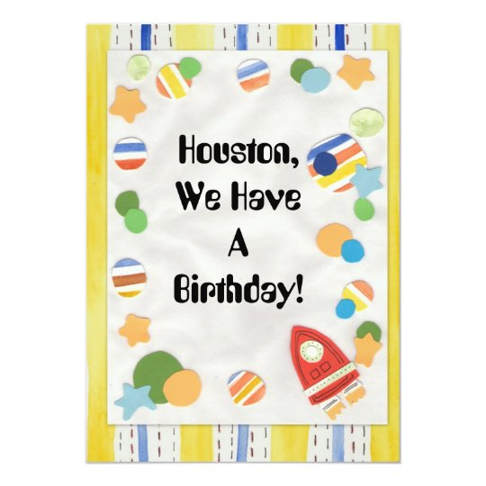 Kids Space Theme Birthday with Rocket  Striped - Card