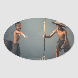 Kids Spear Fishng Oval Sticker