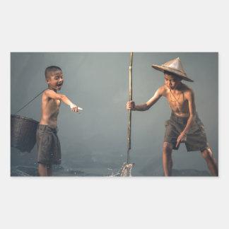 Kids Spear Fishng Rectangular Sticker