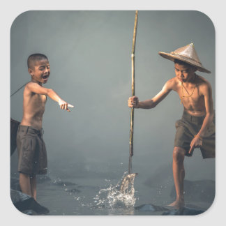 Kids Spear Fishng Square Sticker