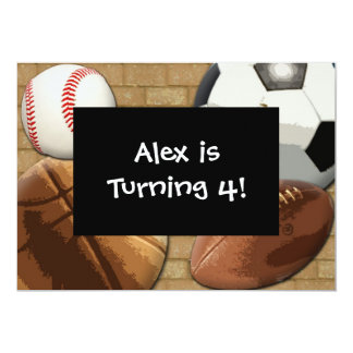 Kids Sports All-Star Birthday Custom Invitation