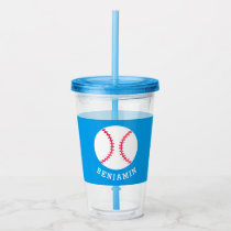 Kids Sports Baseball Athletic Personalized Blue Acrylic Tumbler