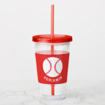 Kids Sports Baseball Athletic Personalized Red Acrylic Tumbler