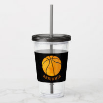 Kids Sports Basketball Athletic Personalized Black Acrylic Tumbler