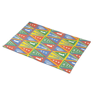 Kids Sports Pennants Pattern Placemat Cloth Place Mat