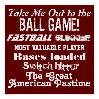 Kid's Sports Room Red Baseball Poster