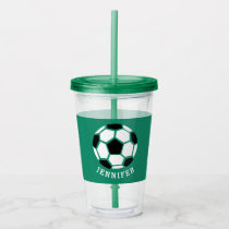 Kids Sports Soccer Athletic Personalized Green Acrylic Tumbler