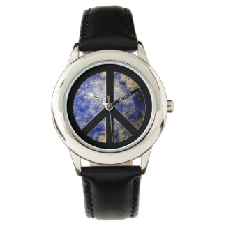 Kid's Stainless Steel Watch Black Strap Peace Sign