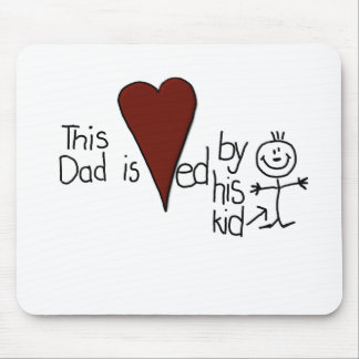 Kids Stick Figure Hearts Dad Mouse Pad