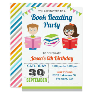 Kids Story Book Reading Birthday Party Invitation