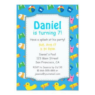 "Kids Summer Splash Birthday Pool Party Invitation 4.5"" X 6.25"" Invitation Card"