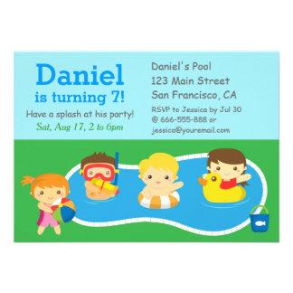 Kids Summer Splash Birthday Pool Party Invitation Announcement