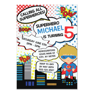 kids superhero birthday party invitation boy hero - Superhero Birthday Party Invitations