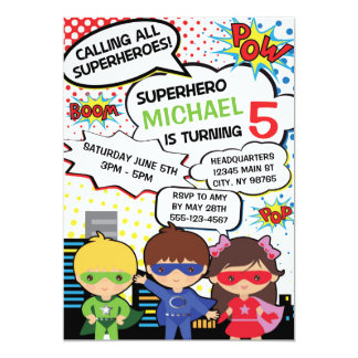Kids Superhero Birthday Party Invite Boy Girl Hero