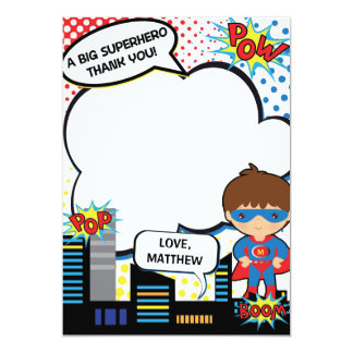 Kids Superhero Birthday Party Thank You Card Boy