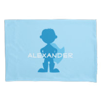 Kids Superhero Boy Silhouette Personalized Blue Pillow Case