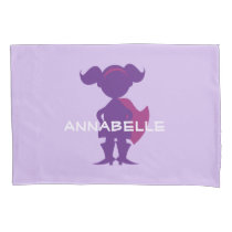 Kids Superhero Girl Silhouette Personalized Purple Pillowcase