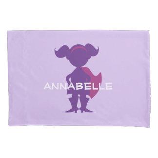 Kids Superhero Girl Silhouette Personalized Purple Pillowcase