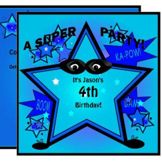 Kids Superhero Star Birthday Boy Party Invitation