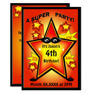 Kids Superhero Star Birthday Party Card