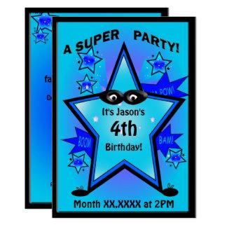 Kids Superhero Star Boy Birthday Party Card