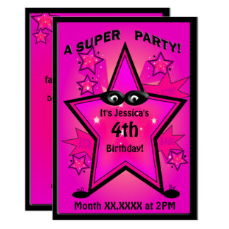 Kids Superhero Star Girl Birthday Party Card