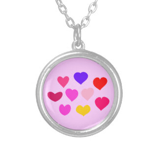 Kids Sweet Blue Pink Red Bundle of Hearts Round Pendant Necklace
