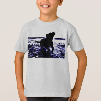 Kid's t-shirt black lab playing in water