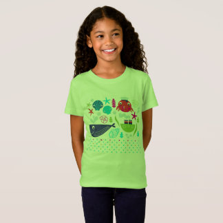 Kids t-shirt green with Sea creatures