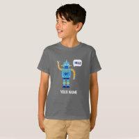 KID'S T-SHIRT WITH ROBOT AND CUSTOM NAME