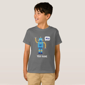 KID'S T-SHIRT WITH ROBOT AND CUSTOM NAME