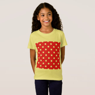 KIDS t-shirt yellow with Red cute dots