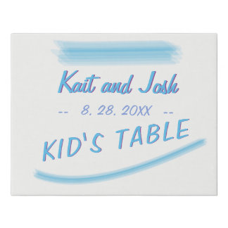 Kids Table Sign Minimalist Soft Ambiance Blue
