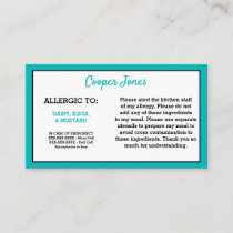 Kids Teal Allergy Alert Restaurant Emergency Calling Card