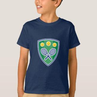 Kids tennis tee shirt with cool emblem