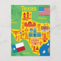 Kids Texas Map Postcard