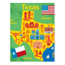 Kids Texas Map Postcard
