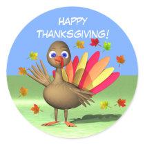 Kids Thanksgiving Baby Turkey Classic Round Sticker