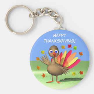 Kids Thanksgiving Baby Turkey Basic Round Button Keychain