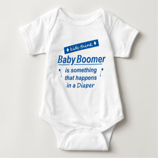 kids think baby boomer is something done in a diap baby bodysuit