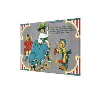 Kids Tormenting Woman with Fireworks Canvas Print