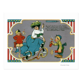 Kids Tormenting Woman with Fireworks Postcard