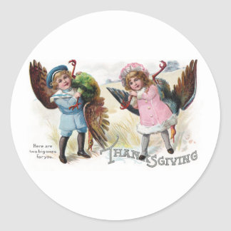 Kids Toting Thanksgiving Turkeys Sticker