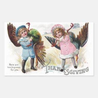 Kids Toting Thanksgiving Turkeys Rectangular Sticker