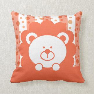 Kids Toy Lion Stripes Polka Dots | peach Pillow