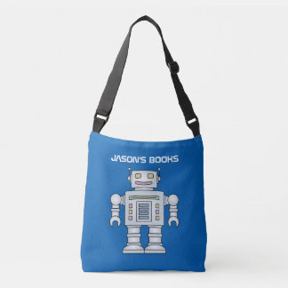 Kids toy robot personalized library book tote bag