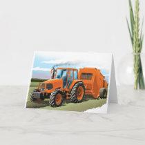 kids tractor birthday card